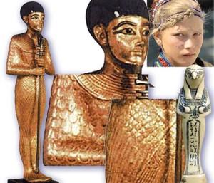 Рис. 4.7.1.4.2. Птах (слева). Справа вверху – укрупнённый фрагмент Птаха и для сравнения лицо европеоидной девушки. Снизу – два укрупнённых фрагмента «одеяния» Птаха. Справа – орнотоморфное изображение Птаха.